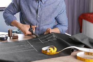 Tailor, Cutting, Fabric, At, Table, In, Atelier, Stock, Image