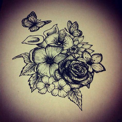 flowers butterfly tattoo design ink pinterest