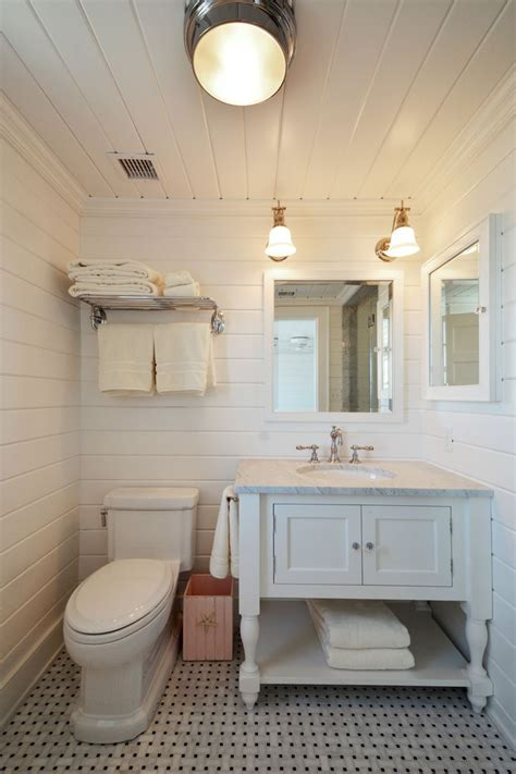 White Shiplap Bathroom by Htons House Bathroom With White Shiplap Walls And