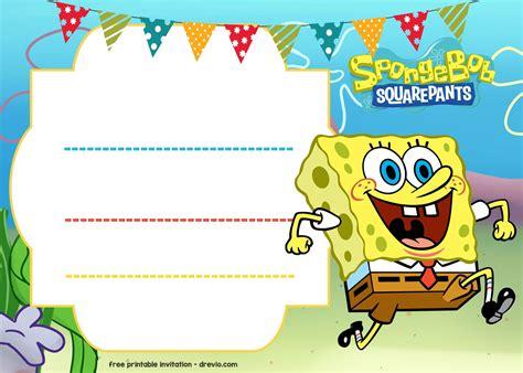 spongebob birthday card template free spongebob birthday invitation free printable