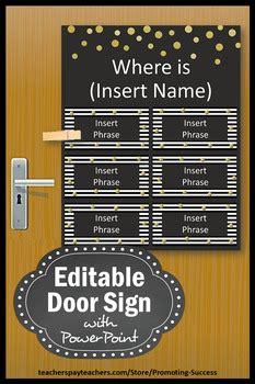 office door sign editable black white gold decor