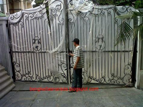 pintu gerbang besi tempa bengkel las  canopy minimalis