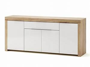 Buffet Bas Blanc : buffet bas 4 portes 1 tiroir blanc et bois l177 2 cm naxis ~ Teatrodelosmanantiales.com Idées de Décoration