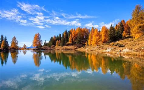 nature landscape lake fall forest italy trees water