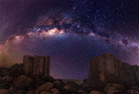 Galaxy Milky Way Stars Desert Night Rocks Stones Wallpaper