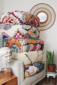 Boho Style Kaufen : moroccan beni ourain pouf floor cushion rug pouffe vintage pouf floor pillow einrichtungs ~ Orissabook.com Haus und Dekorationen