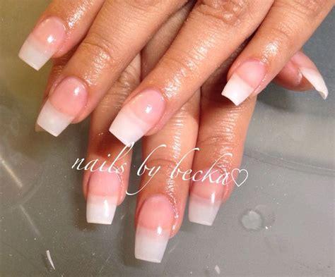 natural acrylic overlay coffin shaped nails  becka