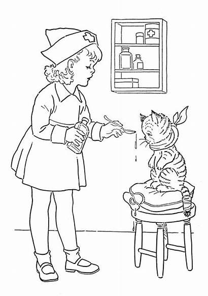 Medicine Coloring Nurse Pages Gives Cat Netart