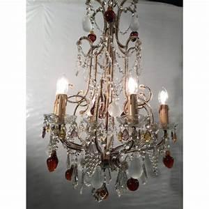 Lustre à Pampilles : lustre baroque style cage 6 lumi res et pampilles color es en forme de fruits lustres ~ Teatrodelosmanantiales.com Idées de Décoration