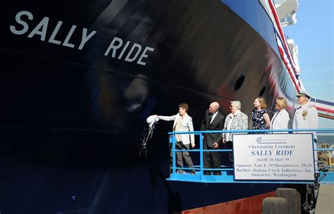 photo sally rides  navy christens ship   late