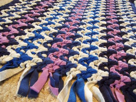 Hand Knotted Rugs by Hand Made Crochet Rag Rug Fleece Chevron Stripe Recycled
