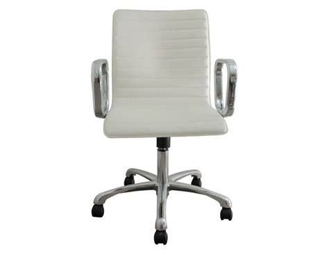 crate barrel ripple ivory leather office chair the