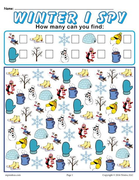 winter i spy free printable winter counting worksheet