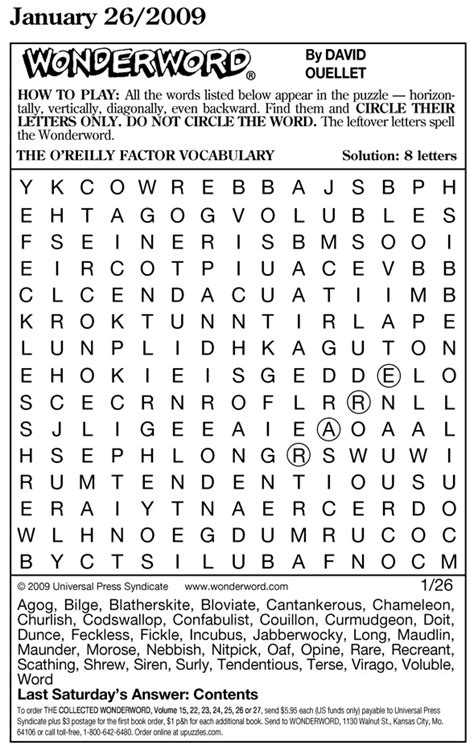 special oreilly vocabulary wonderword bill oreilly