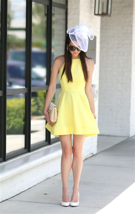 Yellow Derby Dress and White Fascinator Hat - Diary of a Debutante