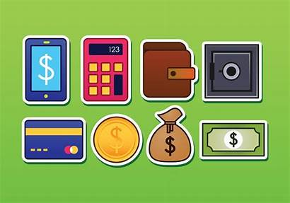 Icons Banking Sticker Vector System Graphics Clipart