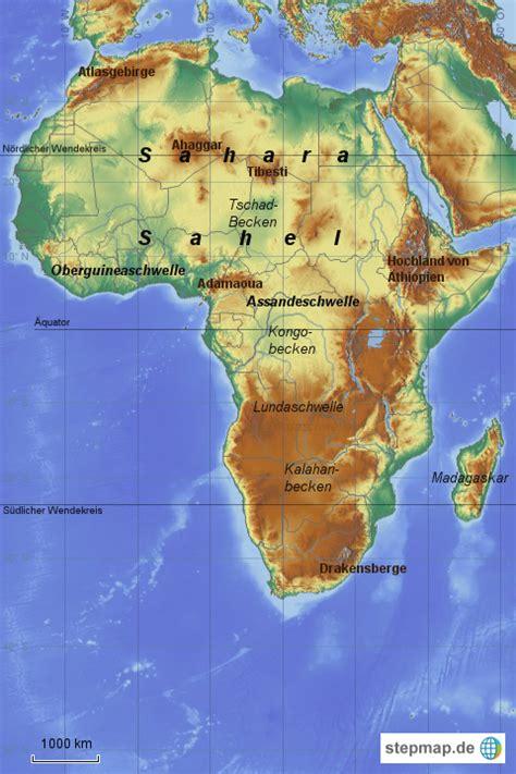 stepmap afrika grosslandschaften landkarte fuer deutschland