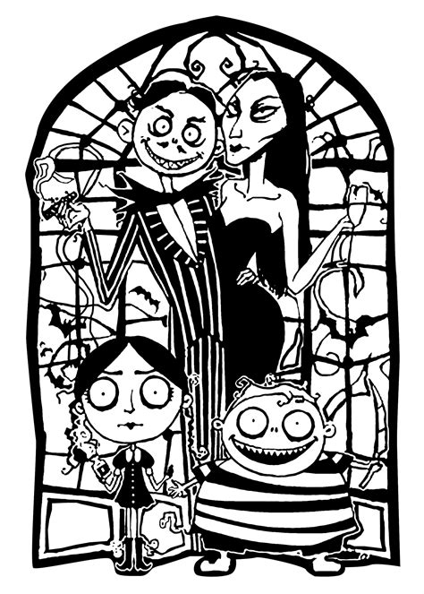 Adams family - Halloween Adult Coloring Pages