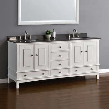 costco vanities double sink cambridge 72 white double sink vanity by mission hills