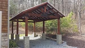 Carport Design With  U0026 39 Stone U0026 39  Column Bases