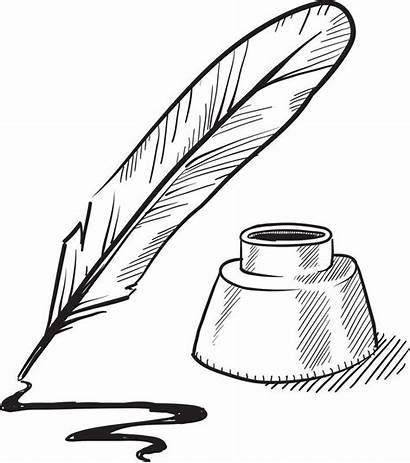 Pen Quill Ink Inkwell Clip Clipart Sketch