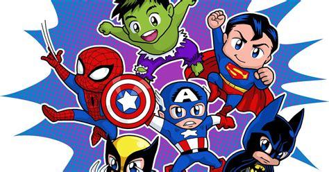 chibi superheroes poster   fiesta  geeks