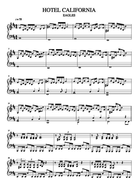 Hotel California  Sheet Music For Piano Musescore