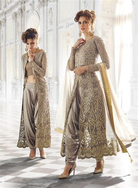 indian designer clothes grey designer wear indian dhoti style anarkali suit in net