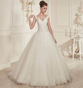 princess style ivory tulle ball gown wedding dresses 2016 With v neck ball gown wedding dress