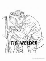 Welding Welder Drawing Tig Getdrawings sketch template