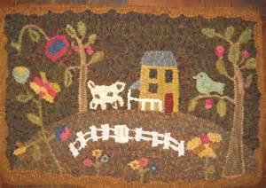 Folk Art Rug Hooking plumrun creek primitive bird folk art hooked rug