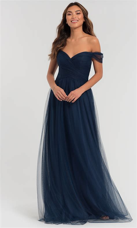 kleinfeld off the shoulder long bridesmaid dress