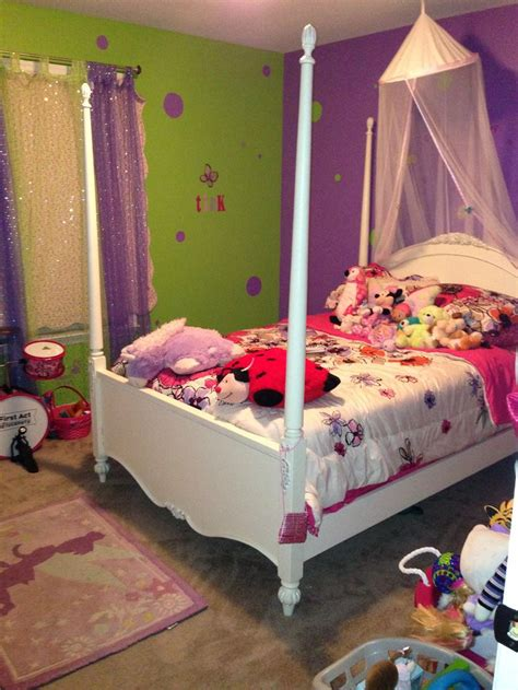girls purple  lime green room canopy bed princess