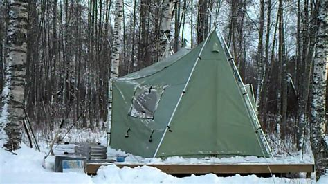 Winterizing our Cabelas Bighorn II Tent - YouTube