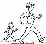 Walk Fast Coloring Trot Dressed Exercise Dad Father Adventure Son Description sketch template