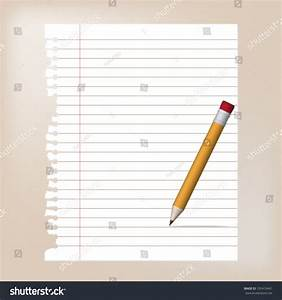 Blank Torn Lined Paper Yellow Pencil Stock Vector ...