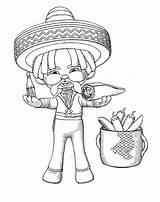 Coloring Mexican Sombrero Cinco Mayo Burrito Eat Printable Getcolorings sketch template