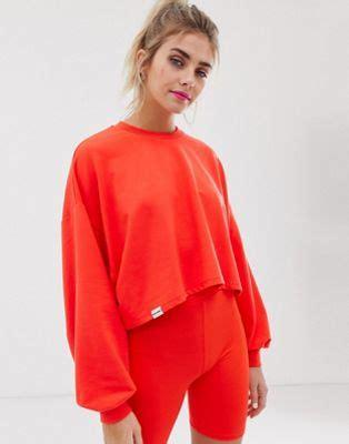 bershka  pantone lightweight sweat top  neon orange asos