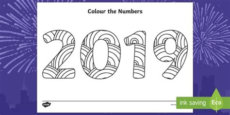 * New * Colour The Numbers New Year 2019 Mindfulness