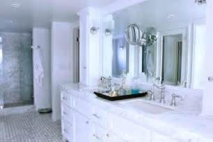 Inset Shower Tray by White Marble Countertops With White Cabinets Traditional