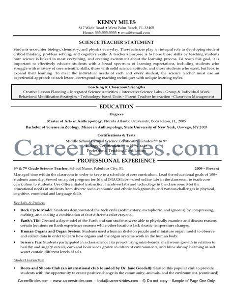 Resume For Science Exles by Secondary Science Resume Sales Lewesmr
