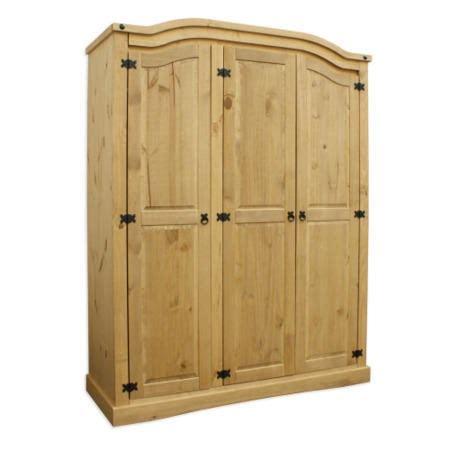 Mexican Pine 3 Door Wardrobe by Corona Mexican 3 Door Wardrobe In Solid Pine Furniture123
