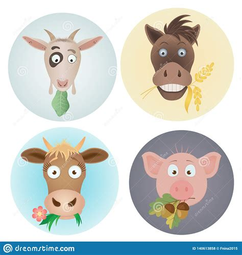 This page has an esl kids farm animals vocabulary list for you to use with your children to teach them all the vocabulary. Vector Funny Icons With Domestic Farm Animals Caw, Goat ...