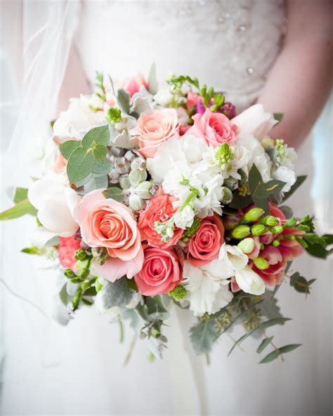 coral and pink wedding flowers brisbane wedding florist
