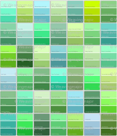 green colors names paint chips with names green fabric weavingmajor
