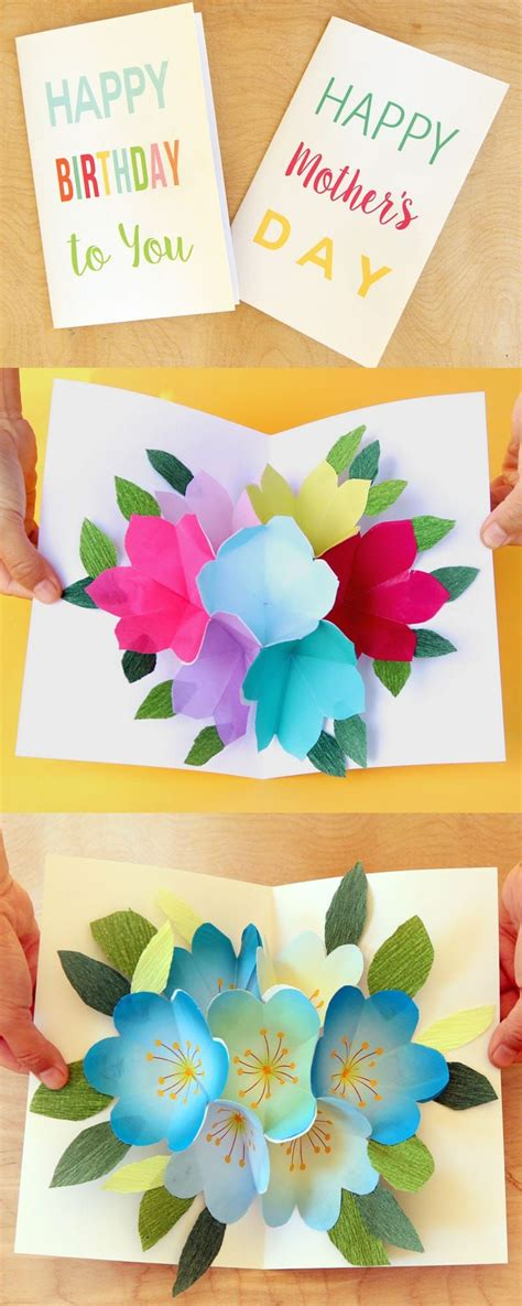 easy birthday card template free printable happy birthday card with pop up bouquet