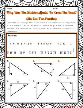 right triangles trigonometry sin cos tan halloween riddle worksheet