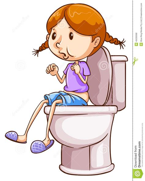 fille et toilette illustration de vecteur illustration du seulement 45030568