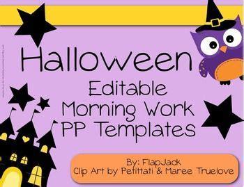 editable halloween owl themed morning work powerpoint