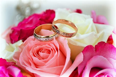 wedding rings roses bouquet events marriage hd wallpaper